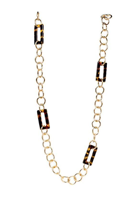 DKM-Assessories-Susan Shaw Tortoise Rectangle Link Necklace