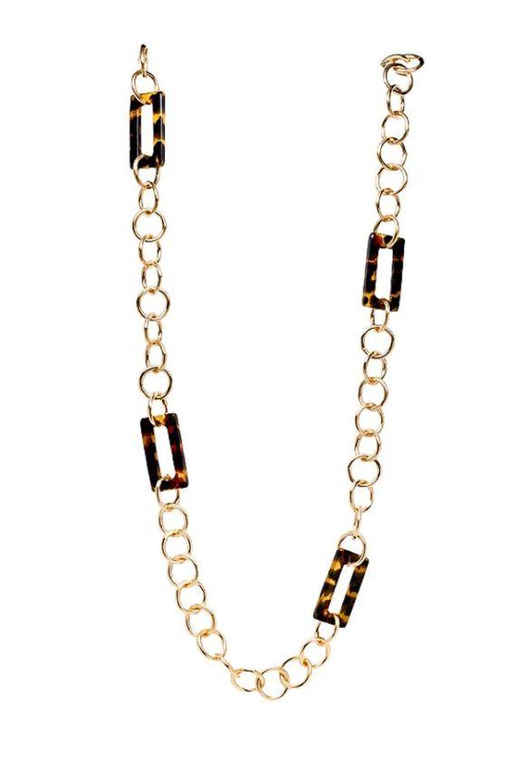 DKM-Assessories-Susan Shaw Tortoise Rectangle Link Necklace