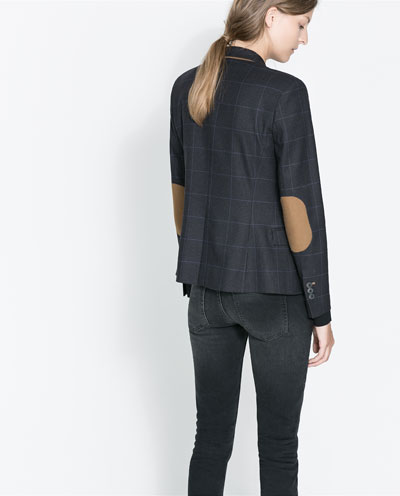 Zara Checkered Blazer with  Elbow Patches