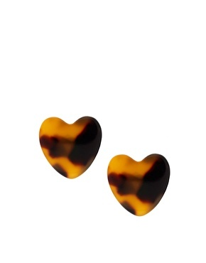 ASOS-Pieces Noma Tort Heart Stud Earrings