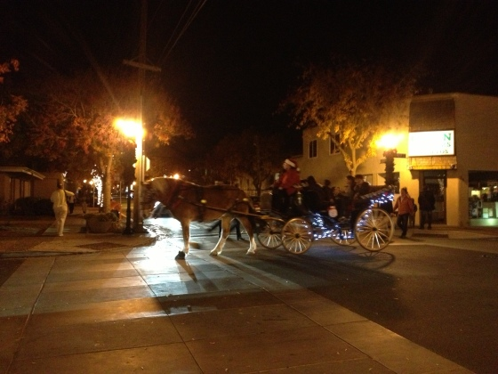 At the Los Altos Holiday stroll there were horse-drawn carriages